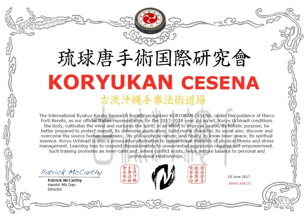 Shibu dojo Koryu Uchinadi per l'anno 2017-18