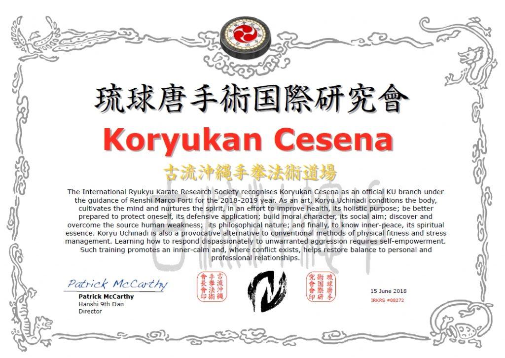 Koryukan Cesena è shibu dojo IRKRS per l'anno 2018-2019