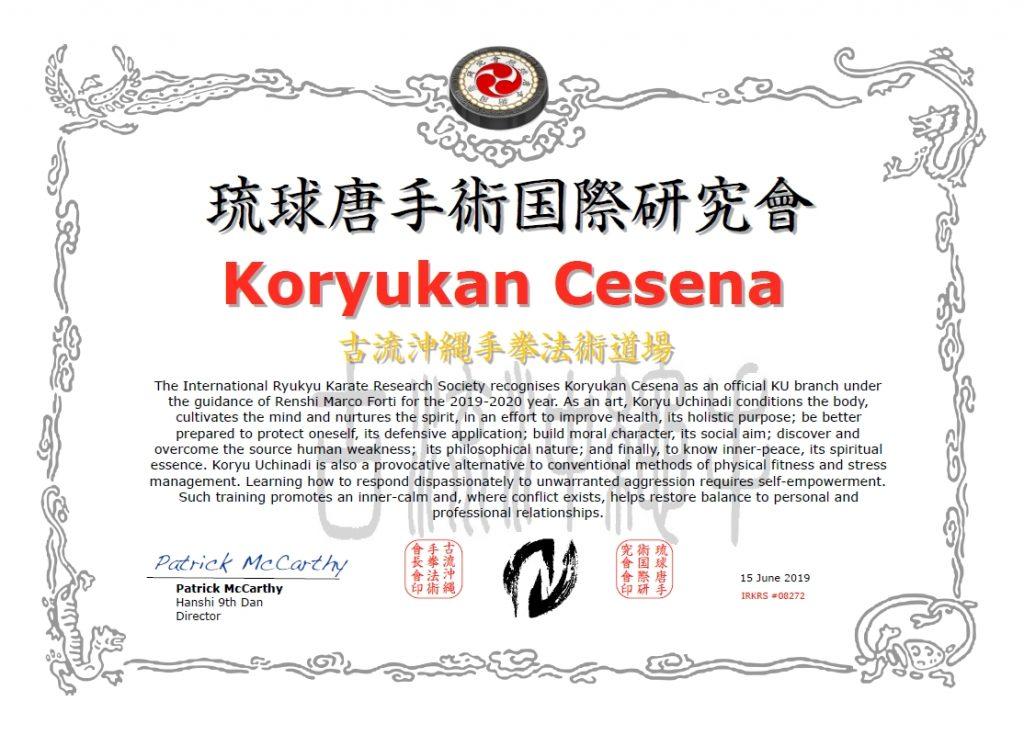 Koryukan Cesena è shibu dojo IRKRS per l'anno 2019-2020