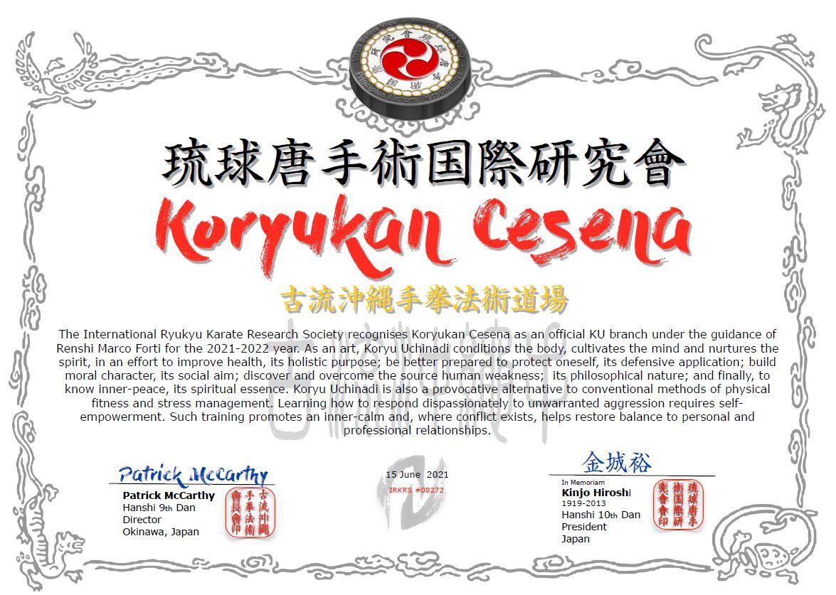 Koryukan Cesena è shibu dojo IRKRS per l'anno 2021-2022